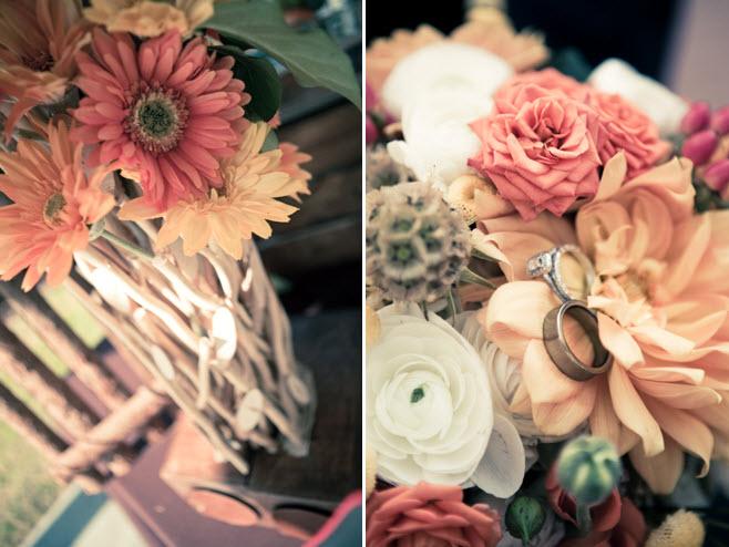 Gorgeous countrychic wedding flowers pastel Gerbera daisies ivory peonies