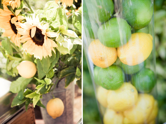 Bright sunflowers in rustic vases and lemons limes in clear hurricane