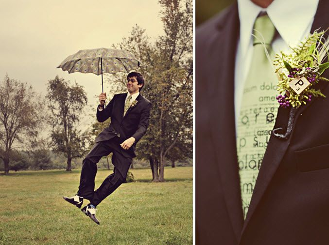 Quirky Michigan groom dons a unique boutonnière and necktie