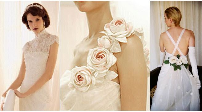 Embellish your classic wedding dress with lace, silk rosettes or a chic train