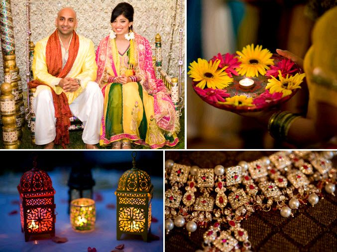 Stunning Indian bride and groom sit together at wedding ceremony