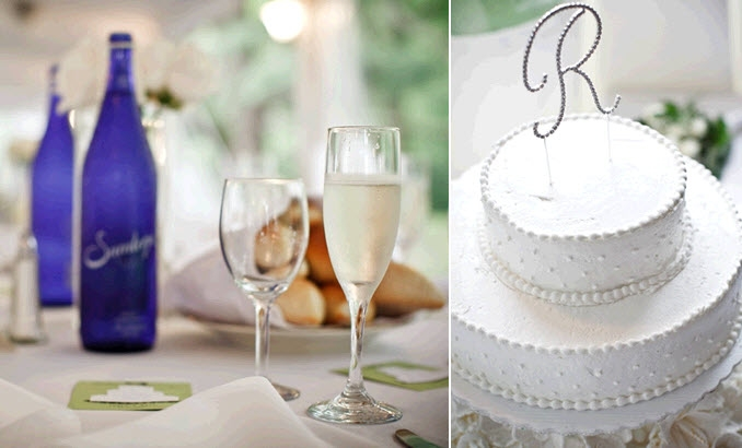 real-wedding-inspiration-penn-outdoor-wedding-reception-tablescape-something-blue-classic-white-wedding-cake-monogram-cake-topper