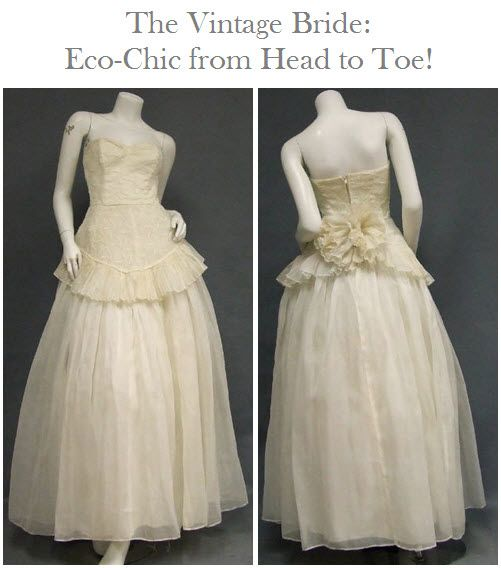 Vintage ivory voile wedding dress featuring heart-shaped embroidered eyelet bodice