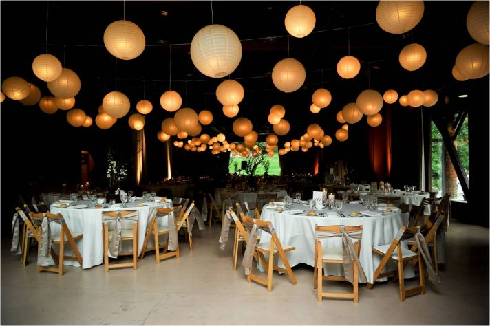 Gorgeous shot of Sundance, UT wedding reception venue- white paper lanterns galore!