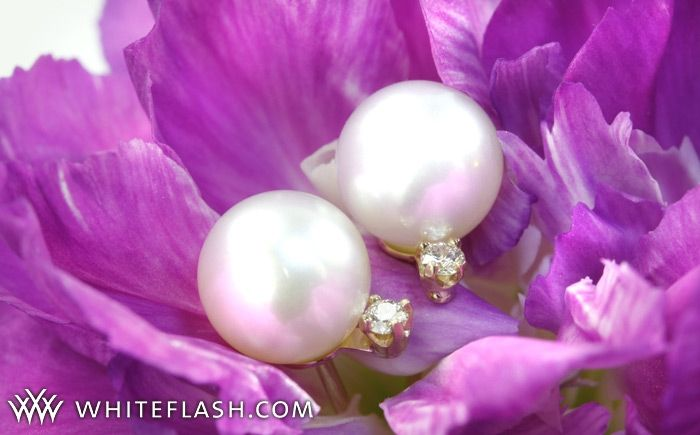 Beautiful Akoya pearl and diamond earrings from Whiteflash- win this week only!
