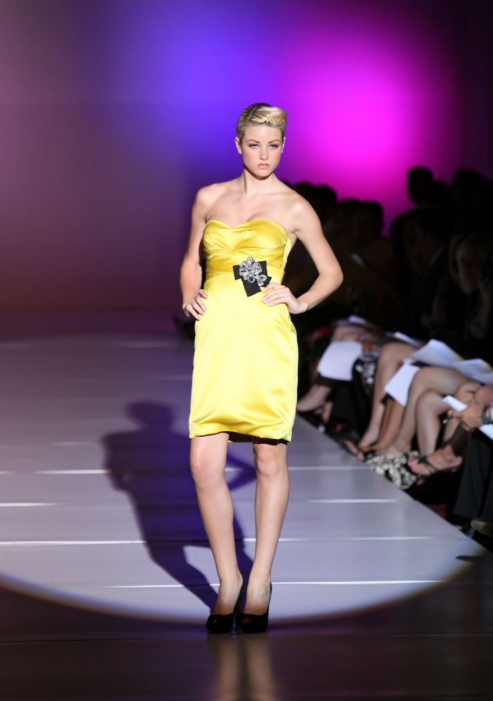 Adorable yellow satin strapless bridesmaid dress with black bow detail