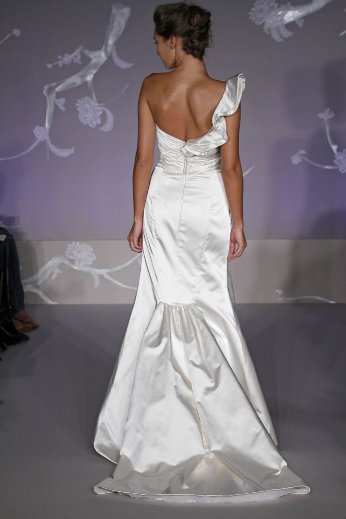 White satin mermaid style 2011 wedding dress with one shoulder and floral applique- back