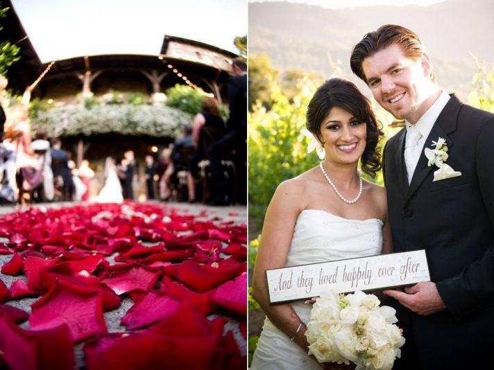 Outdoor wedding ceremony in Napa with an aisle covered in red rose petals