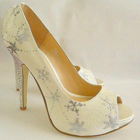 Sky high platform peep-toe ivory bridal heels with hand-painted snowflakes