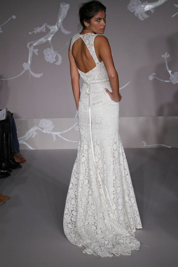 White lace mermaid style wedding dress with open back, from Blush by JLM's Spring 2011 collection