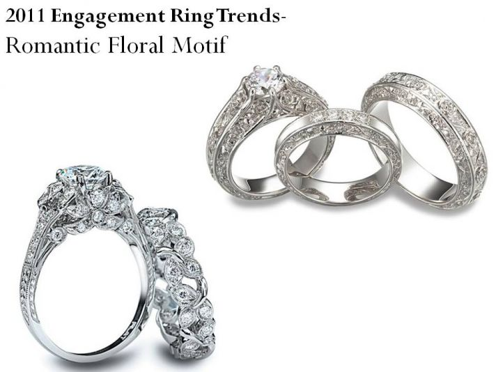 Romantic platinum engagement ring and wedding bands with floral motif in platinum setting
