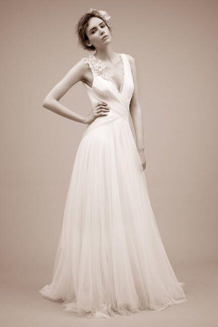 Chic ivory a-line wedding dress with deep v neckline by Jenny Packham