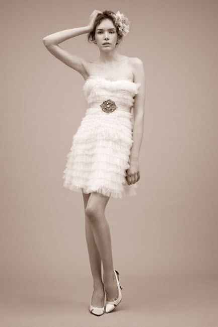 Flirty strapless wedding reception cocktail frock with jeweled bridal belt
