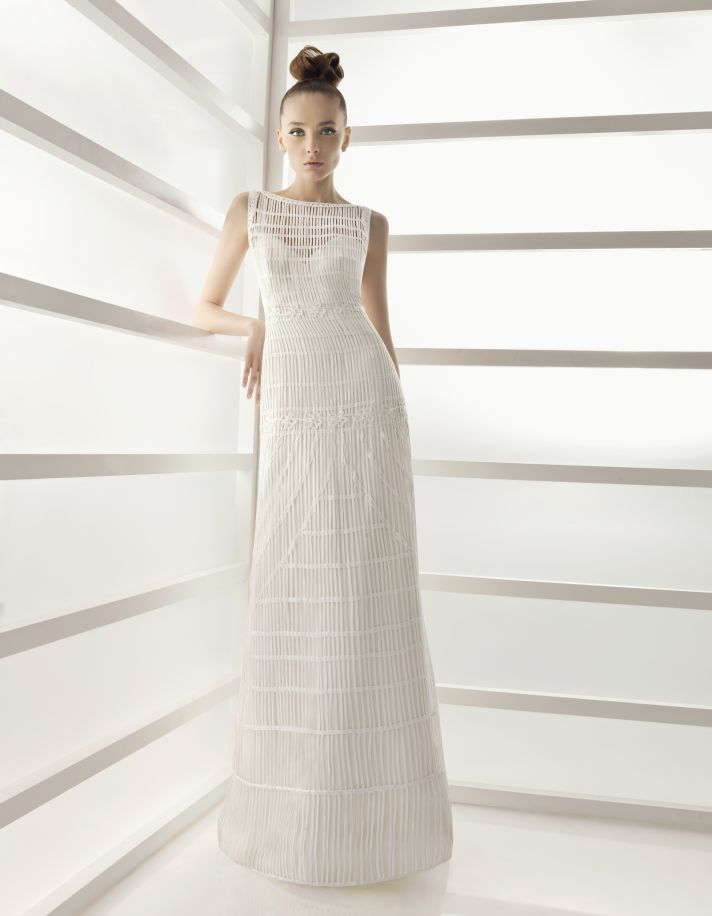 Bateau neck white column wedding dress from Rosa Clara's 2011 collection