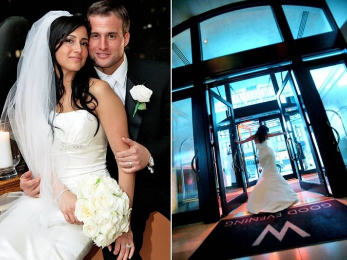 Chic Manhattan wedding- white mermaid wedding dress, black formal tux