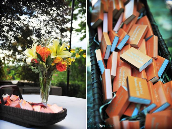 Orange and yellow fresh flower table centerpieces for outdoor Portland reception