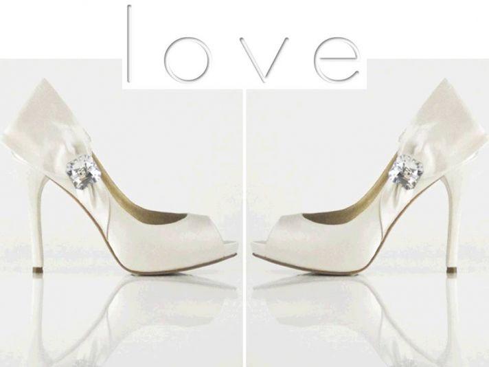 Sky high white satin bridal heels with rhinestone detail