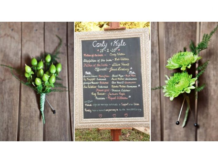 Eco-friendly groom and groomsmen boutonnieres made from locally-grown, in season blooms