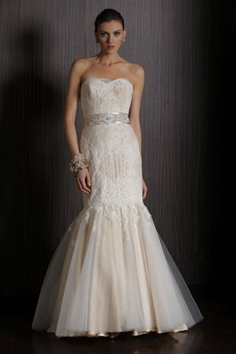Champagne mermaid wedding dress with lace overlay from 2011 Badgley Mischka