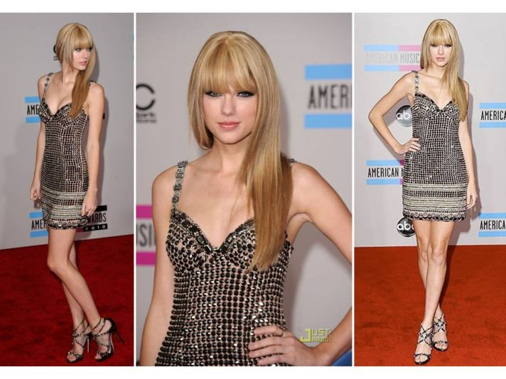 Red Carpet Style from 2010 AMAs- White Marchesa Mini, Sheer in Elie Saab