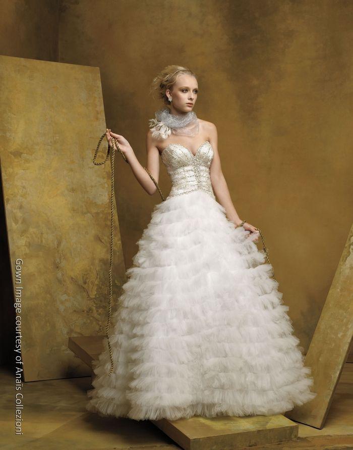 Opulent full princess ballgown wedding dress with deep sweetheart neckline