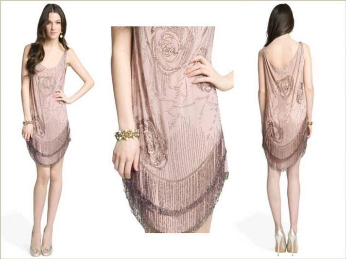 Haute Hippie champagne embroidered cocktail frock for pre-wedding parties