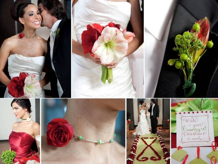 Bride holds festive red and white Candy Cane Amaryllis bridal bouquet