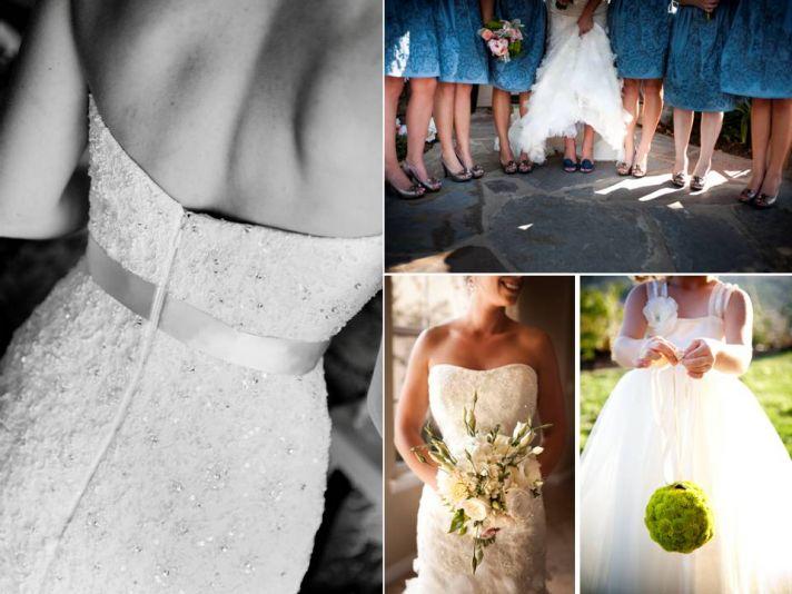 Bride wears white mermaid wedding dresses, 'maids wear blue