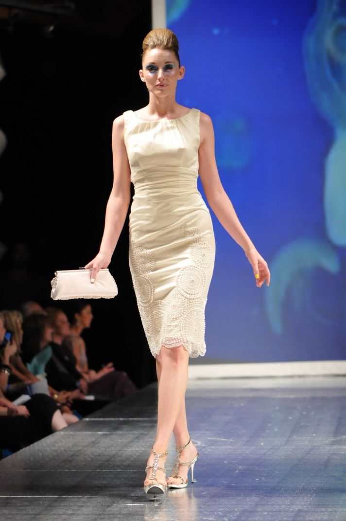 Beige bateau neck knee-length wedding or reception dress
