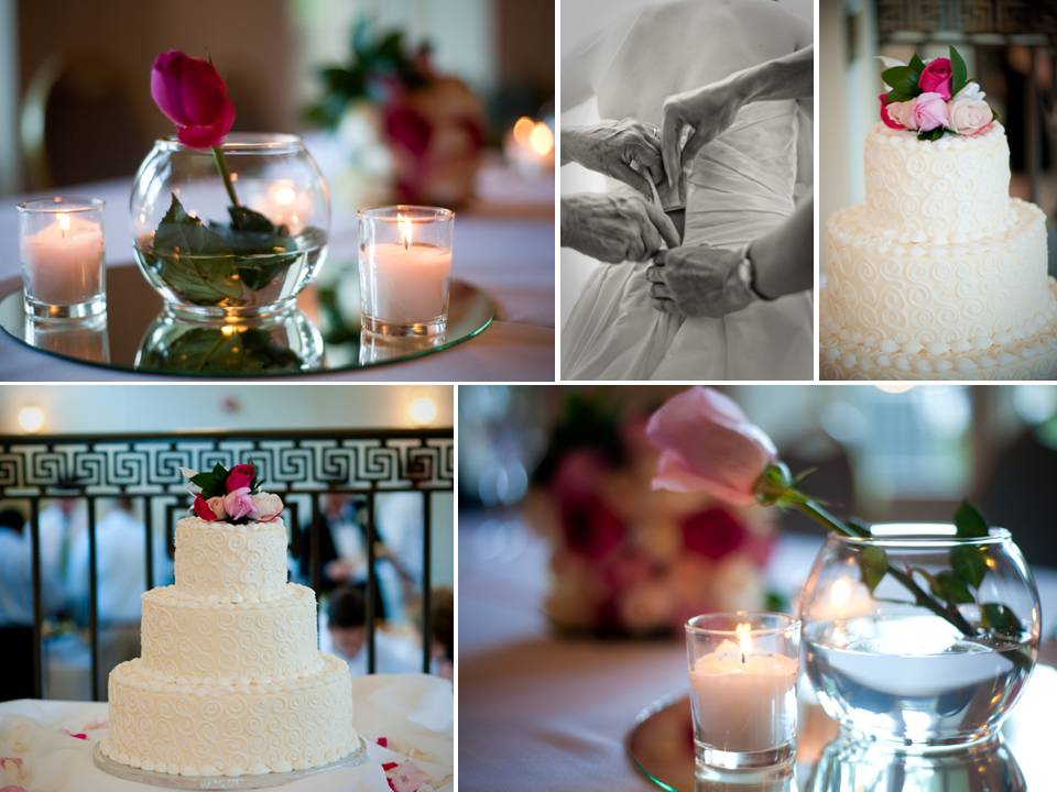 Romantic wedding reception decor white wedding cake pink roses