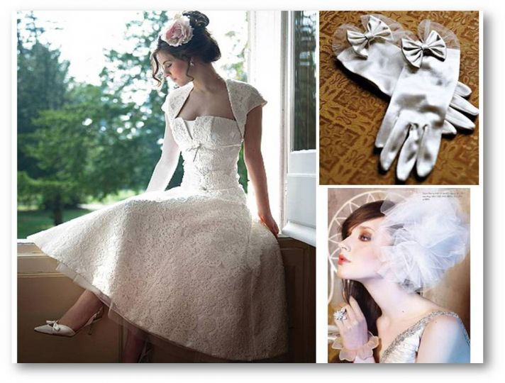 1950's inspired lace tea-length wedding dress, vintage gloves and pouf