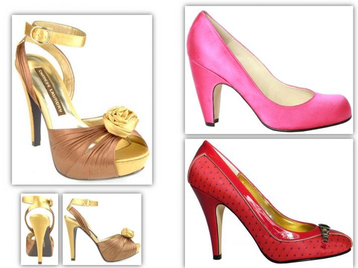Metallic gold and bronze, hot pink satin, and polka dot red eco-chic bridesmaids heels