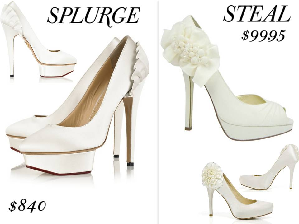 Steal chic bridal style sky high platform bridal shoes with ruffle detail