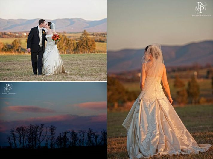 Bride and groom take couple's photos outdoors after their wedding ceremony