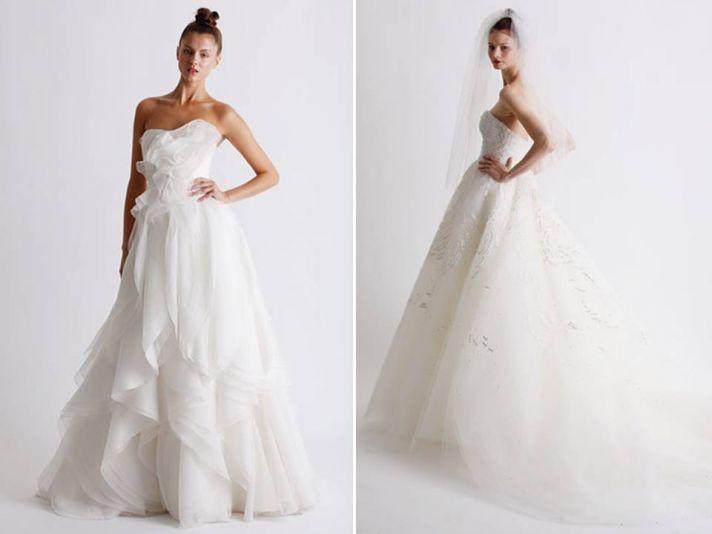Romantic white strapless full a-line Marchesa wedding dress