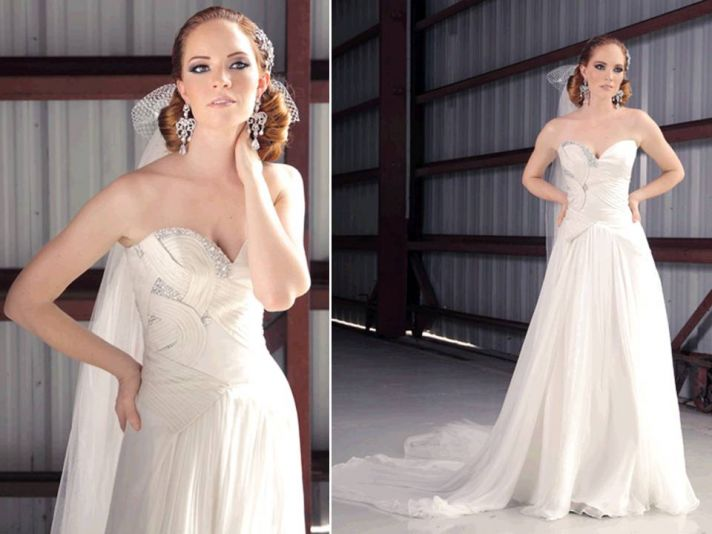 Ivory silk shantung 2011 sweetheart neckline wedding dress with modified a-line skirt