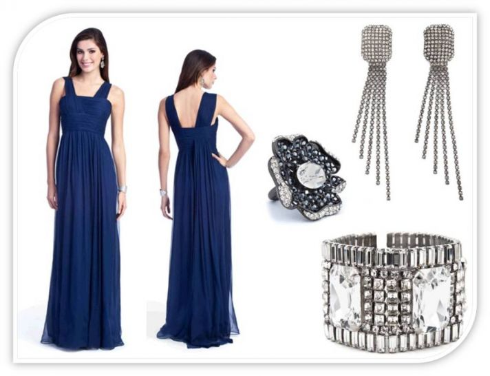 Full length empire bridesmaid dress with silver earrings, cocktail ring, and cuff