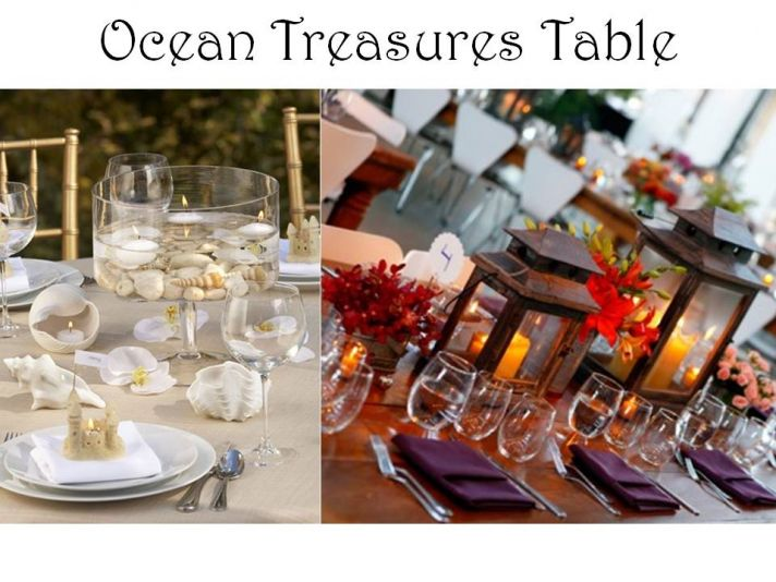 Chic beach-themed wedding tablescape with lanterns, shells and candles