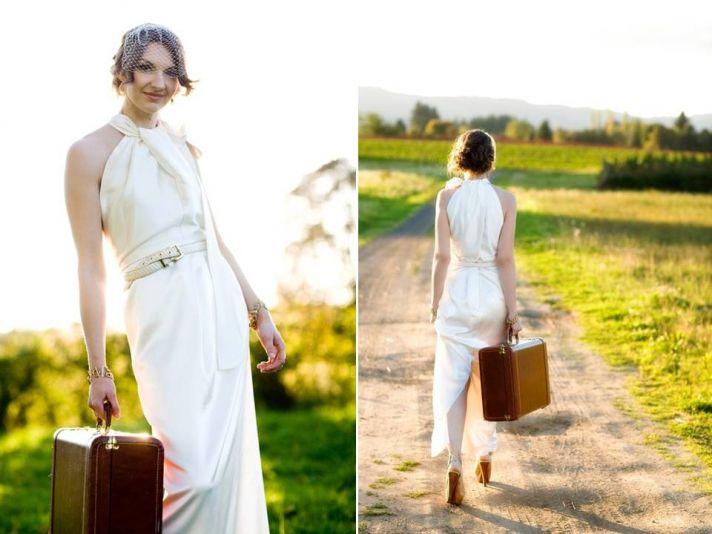 Sleek silk charmeuse ivory halter wedding dress with back bow detail