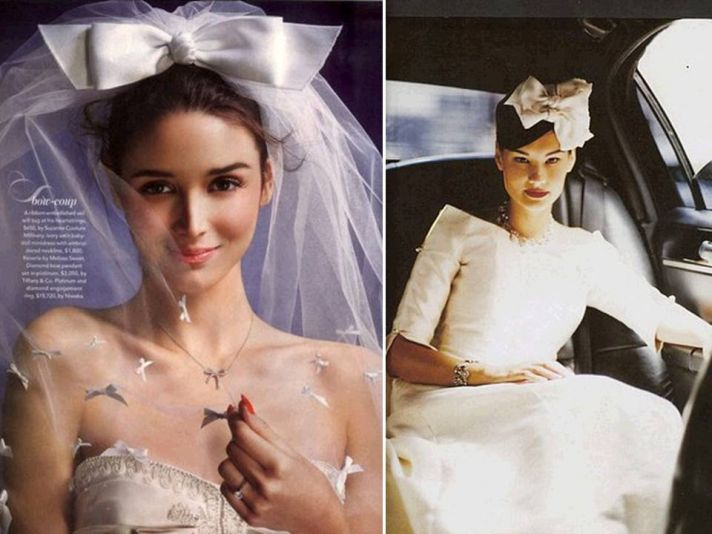 Feminine bow-adorned bridal headpieces and veils