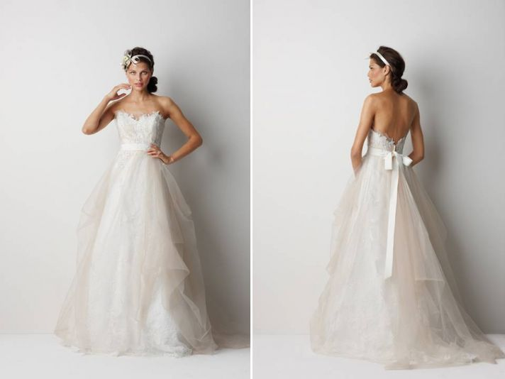 Sweetheart neckline ballgown wedding dress with romantic appliqued bodice