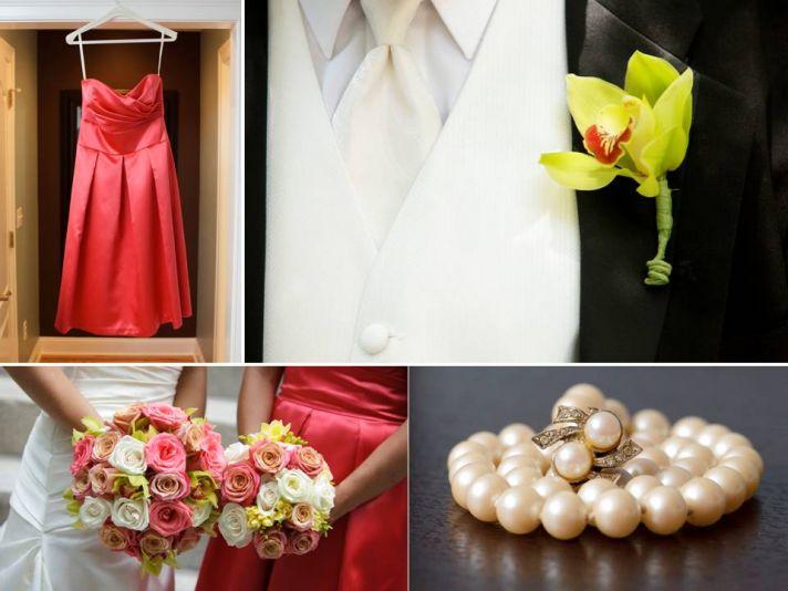 Coral bridesmaids' dresses, vibrant bridal bouquet, orchid boutonniere