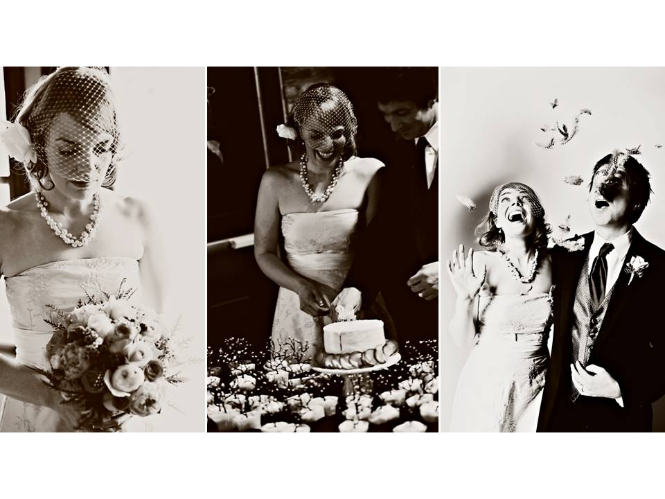 Vintagechic bride and dapper groom cut wedding cake at wedding reception