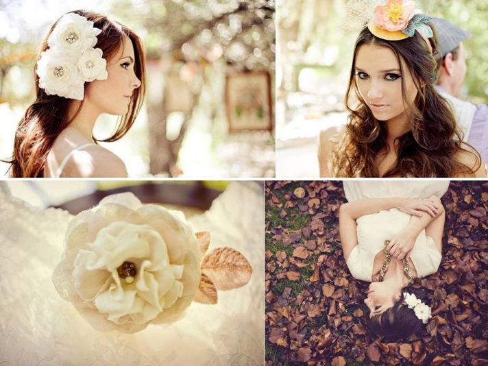 High drama bridal mini hat and large silk hair flower for a whimsical wedding