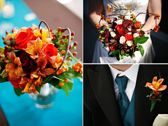 Vibrant fall bridal bouquet, wedding flower centerpieces, and groom's bout