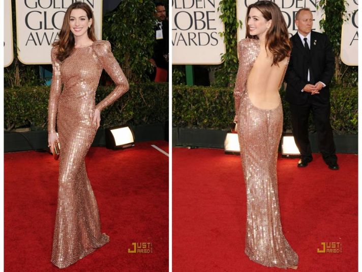 Anne Hathaway wears stunning Armani Prive column dress with open back