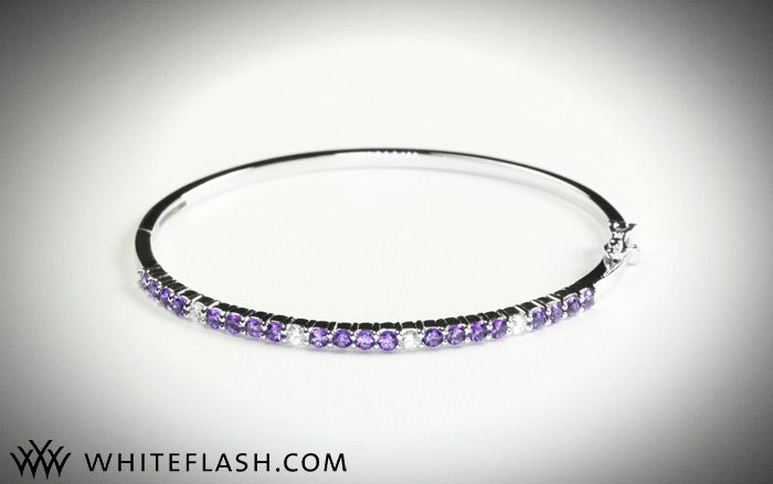 Win this gorgeous diamond, amethyst and white gold bangle bracelet
