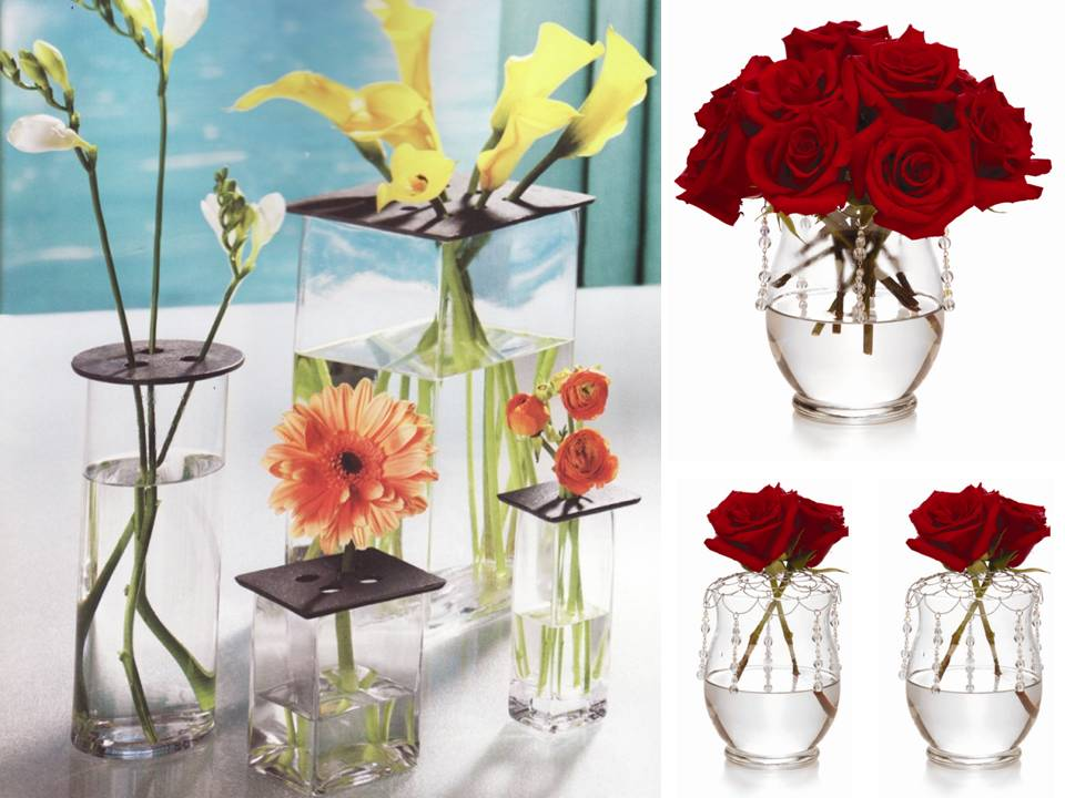 Chic DIY wedding flower centerpiece red roses clear vases