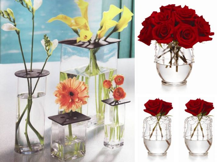 Chic DIY wedding flower centerpiece- red roses, clear vases