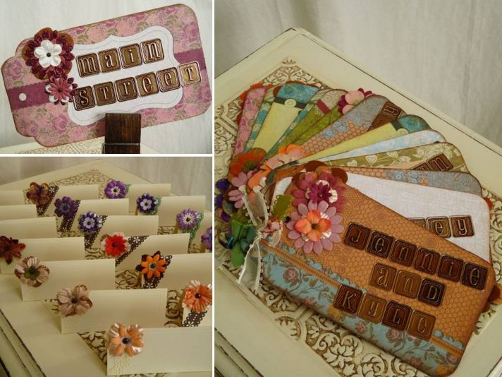 Adorable vintage-chic floral wedding escort cards